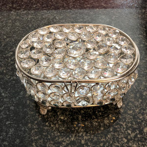Sparkle Jeweled Mirror Oval Jewlery Box